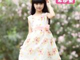 韩版外贸夏款童装新款 女童碎花欧根纱公主裙 中大童网纱连衣裙