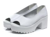 2014欧洲站鱼嘴真皮鞋粗跟浅口鱼嘴鞋高跟厚底防水台单鞋女凉鞋