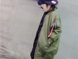 Betty 2015新款 儿童韩版大版军装长款夹克棉衣 长款棒球服棉袄