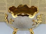潮州家居陶瓷镀金圆形寄花花盆工艺品套装 欧式宫廷三脚碗摆件