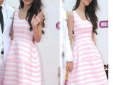 2014 条纹印花女装连衣裙高圆圆angelababy杨颖明星同
