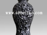 浮雕梅瓶-黑陶工艺品-济南黑陶