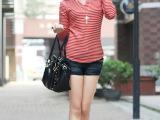 2014新款秋冬装韩版女装 加厚不倒绒 V领条纹修身圆角长袖打底