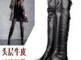 2014新款秋冬季真皮长靴圆头骑士靴平底高筒靴平跟过膝全皮女靴子