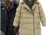 093#欧洲站2014欧美大码女装冬装新款中长款加厚棉衣连帽保暖