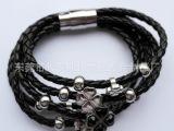 韩版时尚不锈钢多层3m女手链 转运珠黑色猫头4m皮绳手链厂家直销
