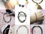 厂价直销欧美流行时尚仿古镶钻手链批发 手工串珠珍珠手链批发