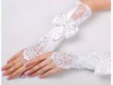 新娘结婚手套白色无指勾指缎面乳婚纱长手套蕾丝蝴蝶结乳白色特价