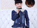 冬款童装女童装新品潮儿童衣服秀韩版蕾丝女孩长袖加绒牛仔外套