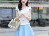 新款韩版女装短袖拼接绣花手工钉花波点短裙套装两件套
