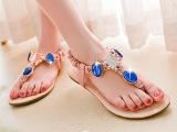 外贸大码女鞋 大量现货民族风情平底串珠人字凉鞋 韩版女凉鞋