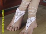 欧美ebay 亚马逊速卖通外贸热销脚饰品 纯棉纯手工钩织脚链 现