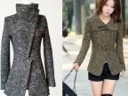 新款秋冬装小香风毛呢 韩版修身中长毛呢上衣,圈圈毛绒外套