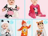 2015宝宝多色连体衣 带帽 纯棉长袖动物两件套哈衣爬服 XR童