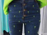 原宿牛仔裤高腰超薄牛仔裤女长裤荧光十字架