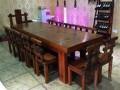 老船木简约实木大板茶桌椅组合仿古老船木茶台