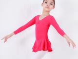 儿童长袖舞蹈练功服 玫红形体服 芭蕾舞练功服