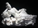 16寸卧莲观音菩萨德化白瓷陶瓷阿弥陀佛瓷雕佛像佛教用品工艺摆件