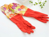批发加长加厚加绒乳胶洗碗手套 洗衣清洁冬季保暖橡胶家务手套