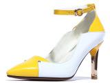 真皮高跟单鞋欧美外贸大码女鞋头层牛皮拼色尖头漆皮牛筋底ZK-V3
