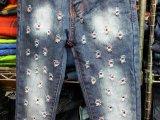 新款外贸洗水外单牛仔长裤童装1.2.3.4.5岁全身破洞
