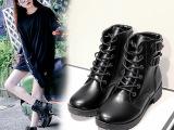 秋冬短靴厚底英伦风复古马丁靴女粗跟单靴高