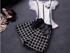 欧洲站2014夏季新款女装时尚小香风短袖+格子短裤两件套套装
