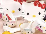 厂家直销陶瓷儿童卡通Hellokitty餐具凯蒂猫餐具礼品套装