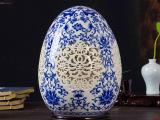 景德镇陶瓷器高档薄胎青花花瓶现代镂空复古典时尚陈设装饰品摆件