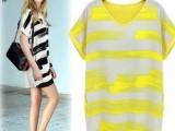 2014夏季新款 百搭宽松个性手绘连衣裙  清新撞色条纹连衣裙