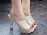 新款水晶跟凉拖防水台厚底粗跟超高跟鱼嘴水钻凉拖鞋女鞋批发
