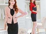 2015秋冬新品韩版女装修身 职业套装连衣裙子外套长袖小西装2件