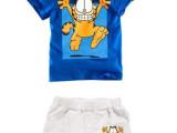 童家居服一件代发 外贸童装 男童加菲猫夏季卡通短袖短裤套装