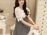 新款韩版时尚孕妇上衣 宽松孕妇连衣裙大码女装蕾丝花边衫