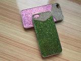 工厂直销苹果保护壳iphone5/5s手机壳电镀PC 镶钻闪粉手机壳 贴皮