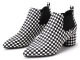 2014秋季新款时尚千鸟格尖头女鞋英伦磨砂单鞋粗跟增高鞋潮km0