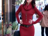 2014韩版堆堆领高领毛衣 修身长款毛衣裙 厚款(腰带加5元)