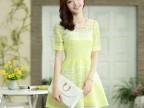 2014新款夏装 圆领短袖 钉珠 条纹蕾丝两件套连衣裙