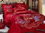 2014婚庆系列家饰家纺 刺绣包边牡丹花舞九件套床上婚庆用品