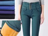 女式加绒牛仔裤 冬季加厚款保暖小脚裤子 超高腰收腹彩色韩版新品