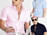 批发2013韩版12色入纯色修身短袖衬衣男士衬衫商务修身夏季服装