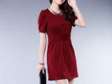 四季青女装 特价款 2014韩版时尚短袖泡泡袖女装连衣裙609