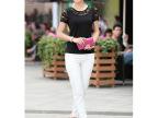 2014夏季新款 加大码韩版女装 蕾丝拼接短袖T恤女 打底衫批发