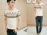 韩版男装夏季新款半袖 时尚民族风印花青年修身圆领男士短袖T恤