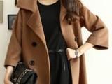 韩版女装 秋冬爆款大码时尚九分袖修身女式毛呢外套呢大衣JR201