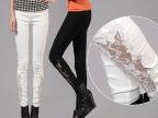 2014夏装韩版显瘦打底裤春季白色小脚裤女装蕾丝镂空铅笔裤休闲裤