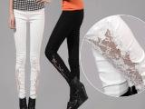 夏装新款显瘦蕾丝外穿白色镂空打底裤女韩版潮铅笔裤