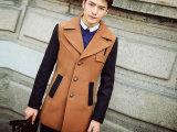 2014新款韩版毛呢大衣 拉风款拼接加厚羊毛呢大衣外套 男式大衣
