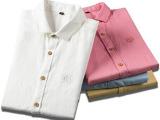 正品衬衫男 时尚新款夏装纯色亚麻衬衫 棉麻半袖衬衣 男短袖衬衫