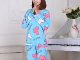 爆款圆领卡通睡衣女士春秋季牛奶丝长袖睡衣米奇套装家居服批发
